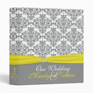 "1"" Gray Damask with Yellow Wedding Binder"