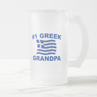 #1 Greek Grandpa Frosted Glass Beer Mug