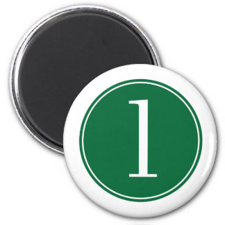 #1 Green Circle 2 Inch Round Magnet