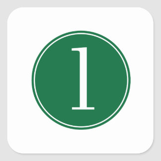 #1 Green Circle Square Sticker