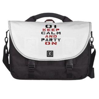 1 guarde la calma y vaya de fiesta encendido bolsas para portátil
