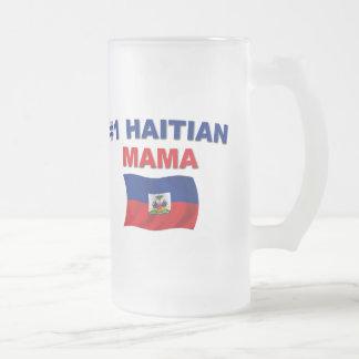 #1 Haitian Mama 16 Oz Frosted Glass Beer Mug