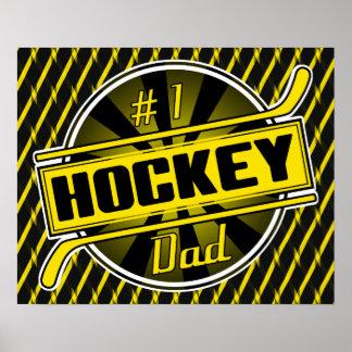 #1 Hockey Dad (black / gold) Poster Print
