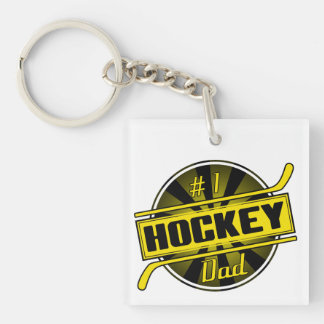 #1 Hockey Dad (black / gold) Single-Sided Square Acrylic Keychain