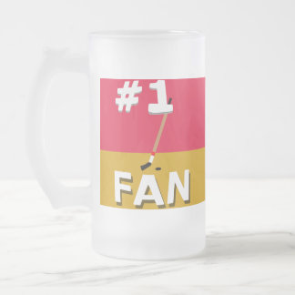 #1 Hockey Fan Red and Caramel Frosted Glass Beer Mug