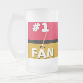#1 Hockey Fan Red, Black, and Caramel Frosted Glass Beer Mug