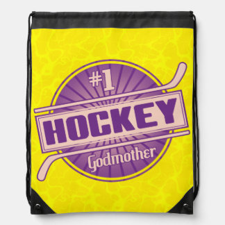#1 Hockey Godmother Drawstring Backpack Bag