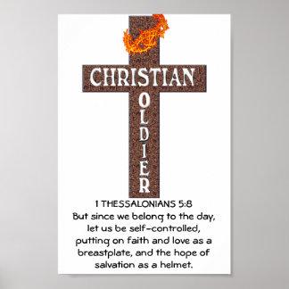 1 IMPRESIÓN ENMARCADA SOLDADO CRISTIANO DEL 5:8 DE PÓSTER