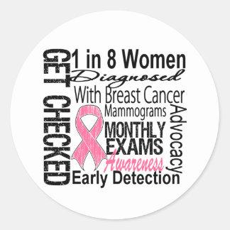 1 in 8 Women - Breast Cancer Awareness Classic Round Sticker