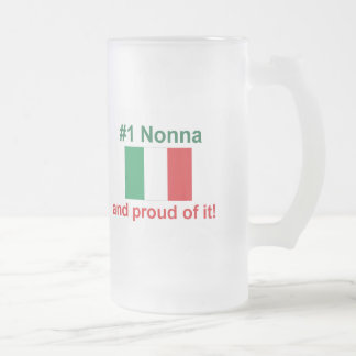 #1 Italian Nonna (Grandmother) Frosted Glass Beer Mug