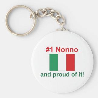#1 italiano Nonno Llavero Redondo Tipo Pin