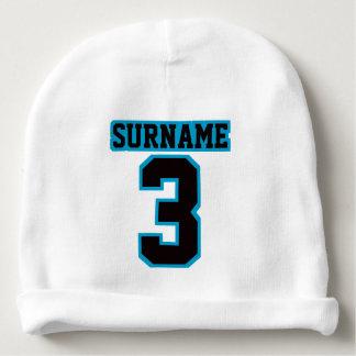 1 jersey AZUL NEGRO BLANCO del fútbol de la Gorrito Para Bebe