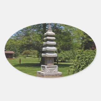 1 Joe and Marie Schedel Pagoda- vertical.JPG Oval Sticker