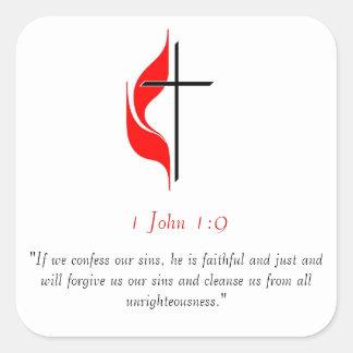 1 John 1:9 Square Sticker