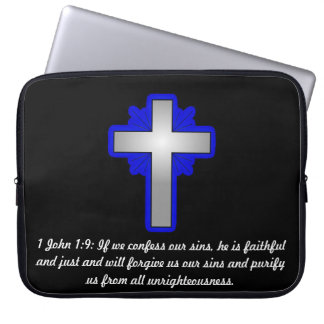 1 John 1:9 with Cross Laptop Sleeve 15 inch
