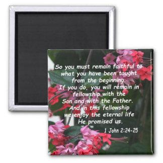 1 John 2:24-25 2 Inch Square Magnet