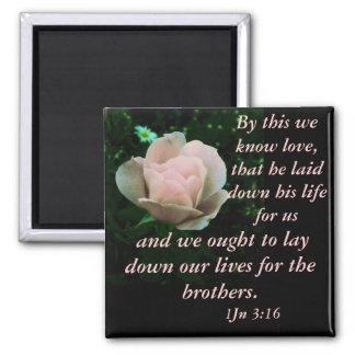 1 John 3:16 2 Inch Square Magnet