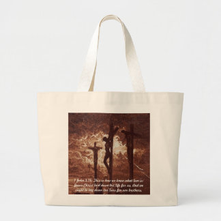 1 John 3:16 Jesus on the Cross Jumbo Tote Bag