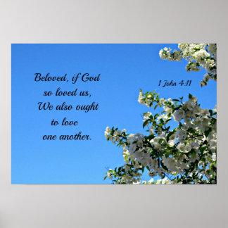 1 John 4:11 Beloved if God so loved us... Poster