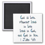 1 John 4:16 2 Inch Square Magnet