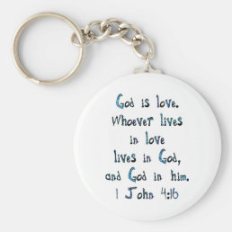 1 John 4:16 Keychain
