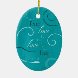1 John 4:18 Double-Sided Oval Ceramic Christmas Ornament
