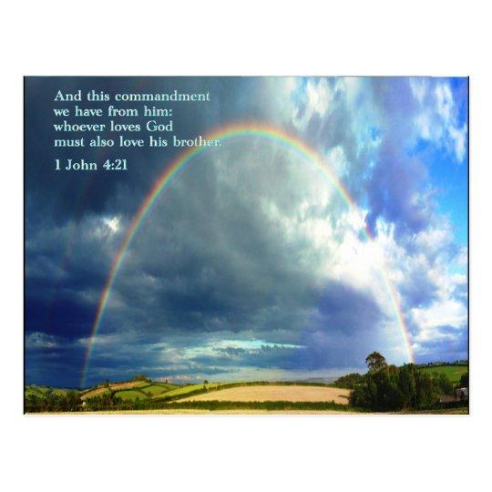 1 John 4:21  Rainbow Postcard