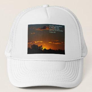 1 John 4:21  Sunset Trucker Hat