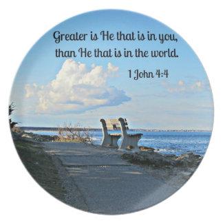 1 John 4:4 Melamine Plate