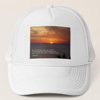 1 John 4:7  Sunset Trucker Hat