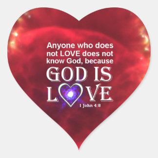 1 John 4:8 Heart Sticker