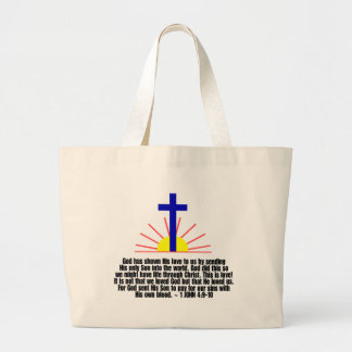 1 John 4:9-10 Large Tote Bag