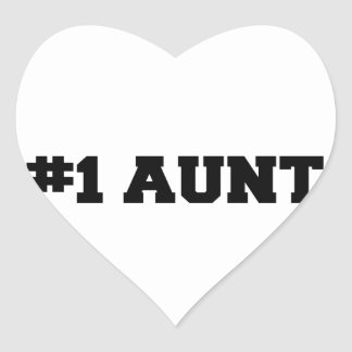 #1 la tía, tía #1, numera a 1 tía, la mejor tía pegatina en forma de corazón