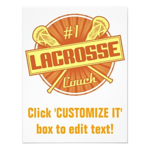 #1 Lacrosse Coach (orange) Personalized Invitation