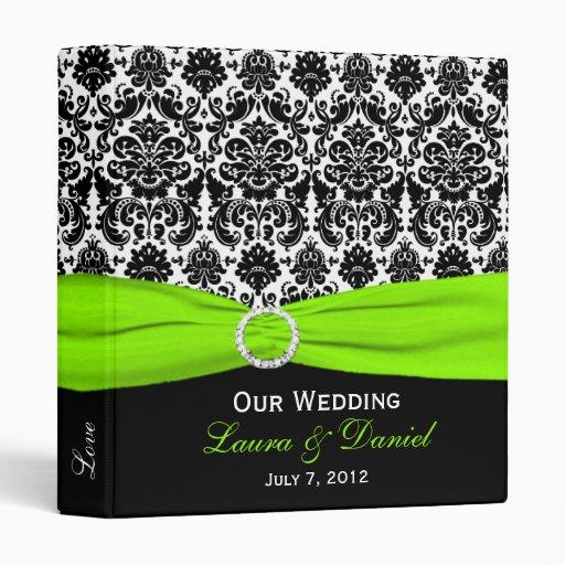 "1"" Lime, Black, and White Damask Wedding Binder"