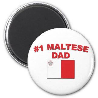 #1 Maltese Dad 2 Inch Round Magnet