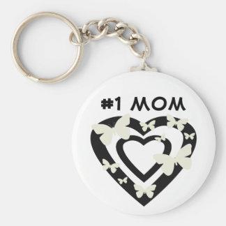 #1 mamá, corazones abiertos, mariposas blancas llavero redondo tipo pin