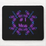 # 1 mamá, libélulas, púrpura y azul en negro tapetes de raton