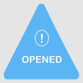 1 - Medication Alert ~ OPENED. Triangle Sticker