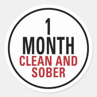 1 mes limpio y de sobrio pegatina redonda