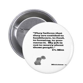 1% Mitt Pinback Button