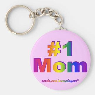 #1 Mom 3D Rainbow Graphic Basic Round Button Keychain