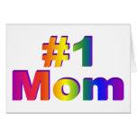 #1 Mom 3D Rainbow Graphic Greeting Card