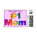 #1 Mom 3D Rainbow Graphic Postage Stamps