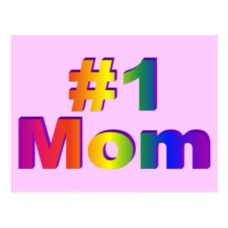 #1 Mom 3D Rainbow Graphic Postcard
