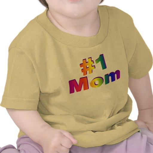 #1 Mom 3D Rainbow Graphic Tshirt