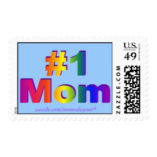 #1 Mom! 3D Rainbow Sky Blue Postage Stamps