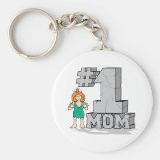 #1 Mom Basic Round Button Keychain