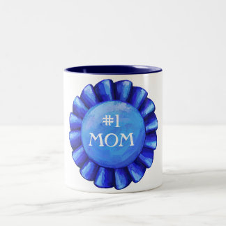 #1 Mom Blue Badge Mug
