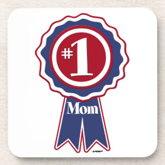 #1 Mom Blue Ribbon Beverage Coasters
